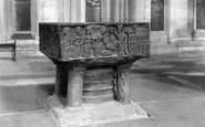Winchester, The Cathedral, The Font 1890