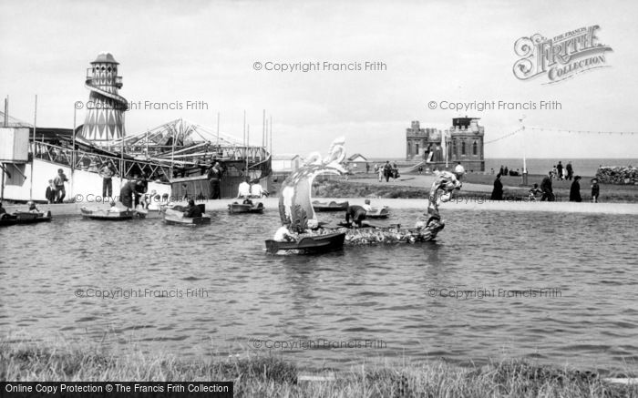 Withernsea, Pier Towers And Boating Lake c.1955