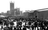 Wolverhampton, the Market and St Peter's Church 1910