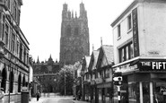 Wrexham, Church Street And Church Of St Giles c.1955
