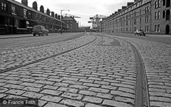 Barrow-in-Furness, Tram Lines in a Cobbled Road 1963