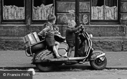 Glasgow, The Gorbals, Children On Scooter 1961