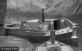 Oldbury, Narrow Boat on the Canal 1964