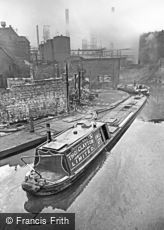 Oldbury, Narrowboat on Canal by BIP Factory c1960