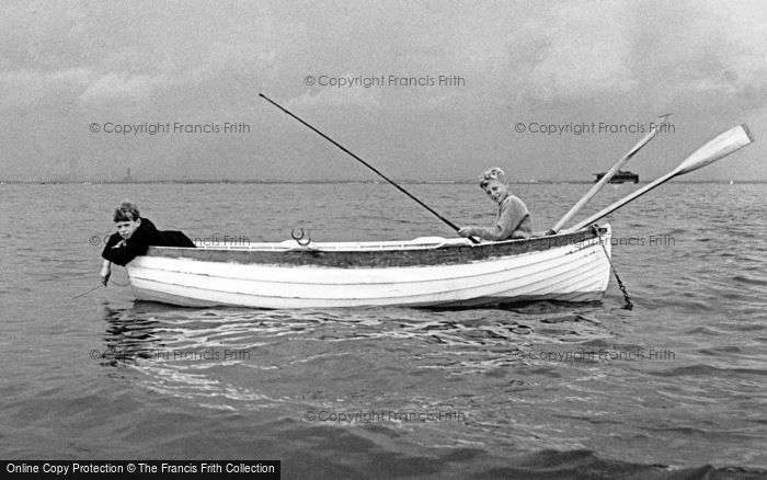 Photo of Seaview, Boys Fishing In The Solent 1958