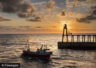 Whitby, Fishing Boat at Sunrise c2010