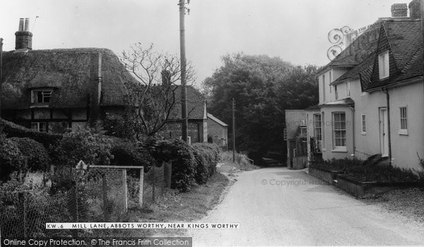 Photo of Abbots Worthy, Mill Lane c.1960