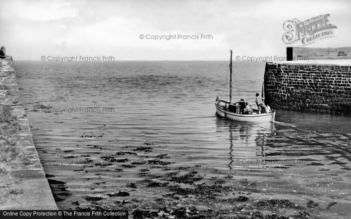 Photo of Aberaeron, Fishing Boat Leaving Harbour c.1955