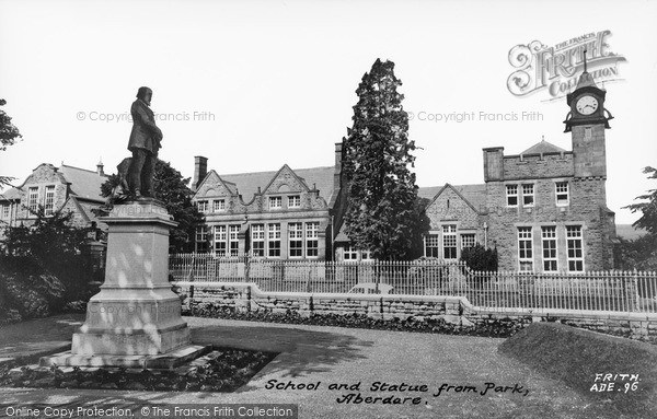 Photo of Aberdare, School And Statue From Park c.1965
