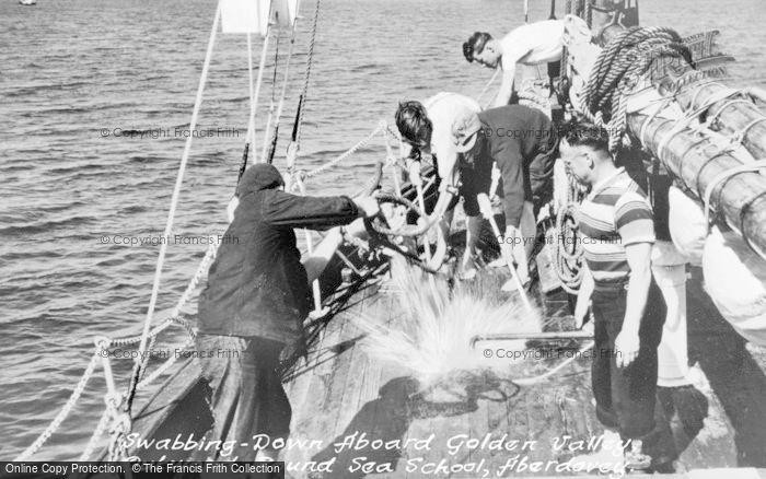 Photo of Aberdovey, Outward Bound Sea School, Swabbing Down Aboard Golden Valley c.1960