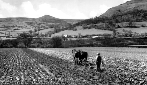 Photo of Abergavenny, Ploughing Below The Sugar Loaf c.1955