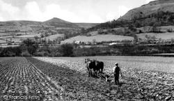 Ploughing Below The Sugar Loaf c.1955, Abergavenny