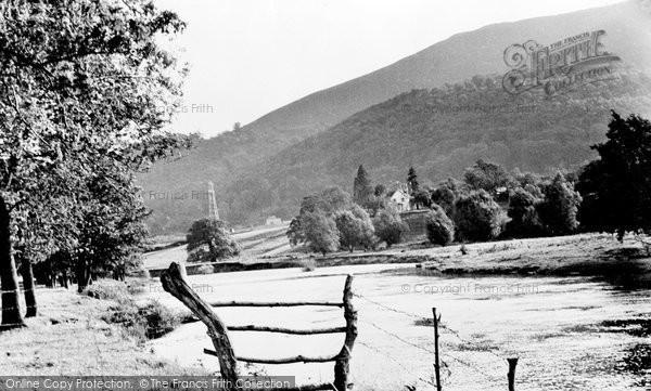 Abergavenny, River Usk And Blorenge Mountain c.1955