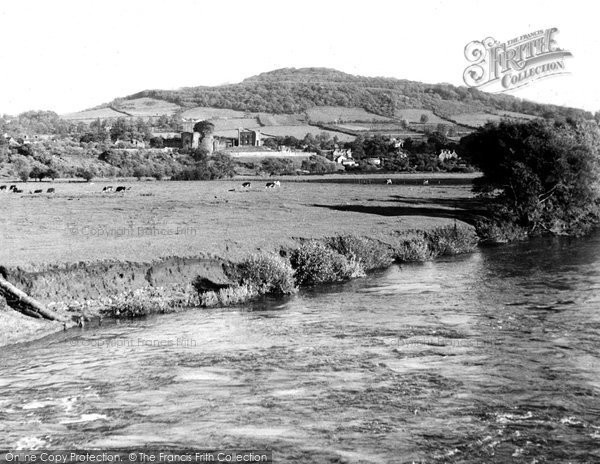 Abergavenny, The Castle From Usk Bridge c.1955