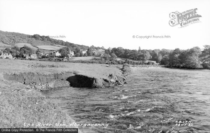 Photo of Abergavenny, The River Usk c.1955