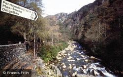 Aberglaslyn Pass, Sign By The Bridge c.1985