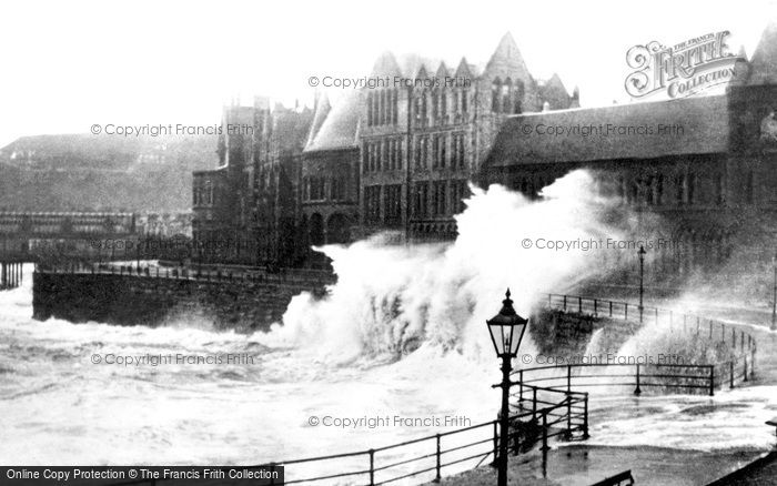 Photo of Aberystwyth, Rough Sea c.1930