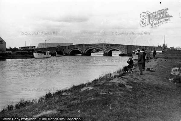 Photo of Acle, Fishing At Acle Bridge c.1929
