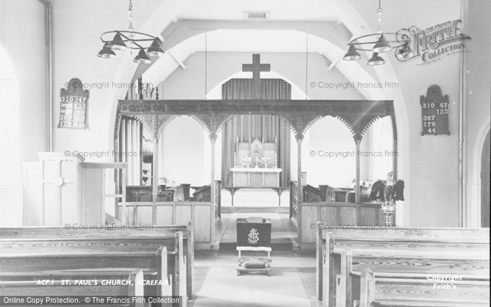 Photo of Acrefair, St Paul's Church, Interior c.1955