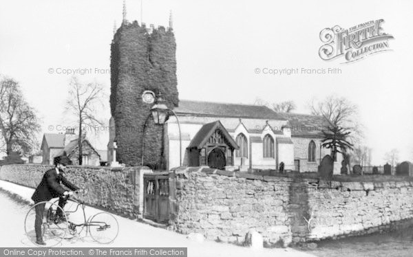 Photo of Adwick Le Street, Cyclist By The Church 1900