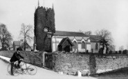 Adwick Le Street, Cyclist By The Church 1900