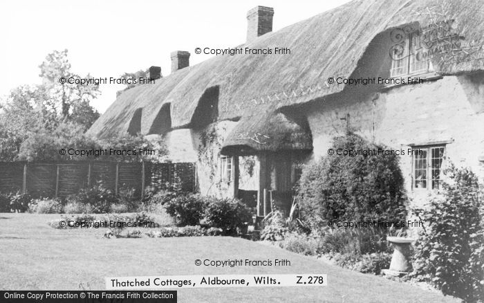 Photo of Aldbourne, Thatched Cottages c.1950