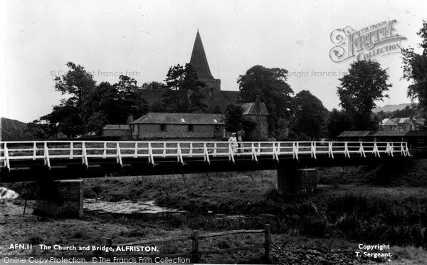Photo of Alfriston, St Andrew's Church And Bridge c.1955