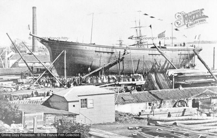 Photo of Alloa, A Launching At Mc Leod's Boatyard c.1900