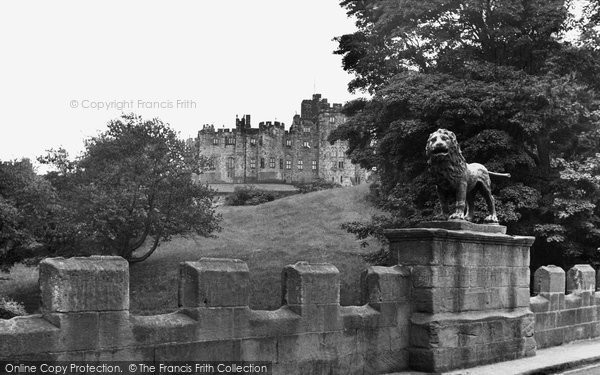 Photo of Alnwick, the Castle and Lion Bridge c1955, ref. A223001