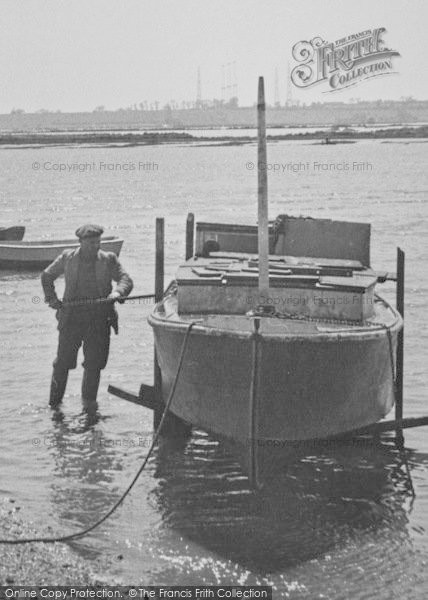 Photo of Althorne, The Creek, Man And Boat c.1955