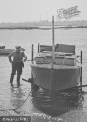 Althorne, The Creek, Man And Boat c.1955