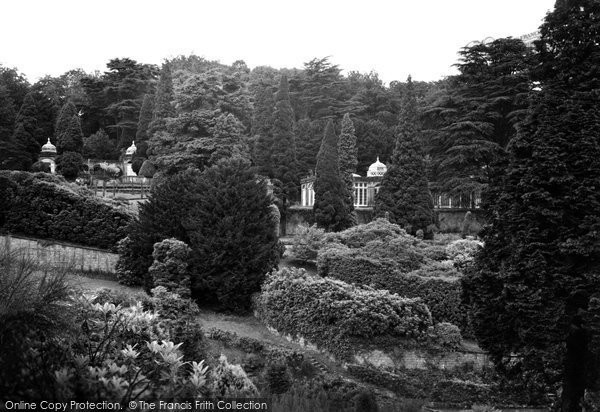 Alton Towers, The Gardens And Conservatory From Bridge 1952