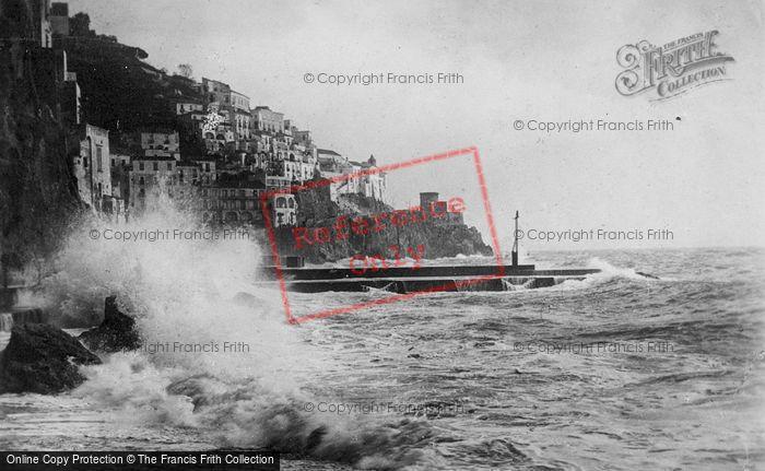 Photo of Amalfi, Harbour, Crashing Waves c.1920