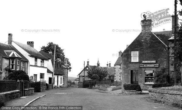 Photo of Ancrum, the Post Office and School c1955, ref. A177010