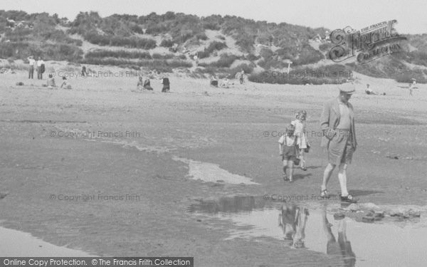 Photo of Anderby Creek, Father And Children On The Beach c.1955