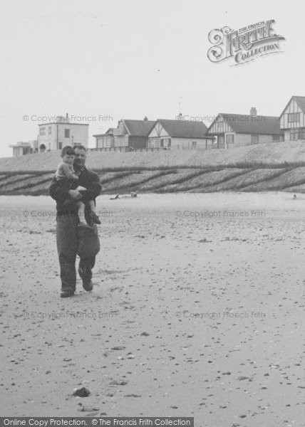 Photo of Anderby Creek, Father And Son On The Beach c.1955