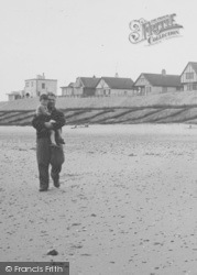 Father And Son On The Beach c.1955, Anderby Creek