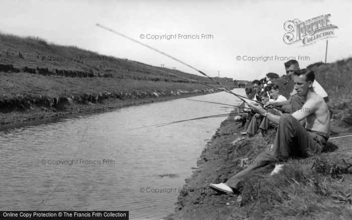 Photo of Anderby Creek, Fishing In The Creek c.1955