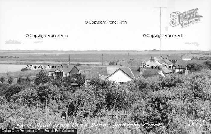 Photo of Anderby Creek, North Road From Sand Dunes c.1955