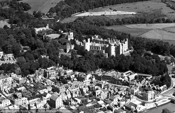 Photo of Arundel, Castle And Town From The Air c.1955
