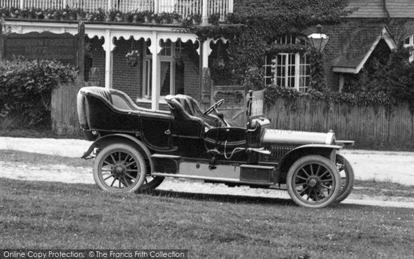 Photo of Ashdown Forest, Vintage Car Outside The Hotel 1908