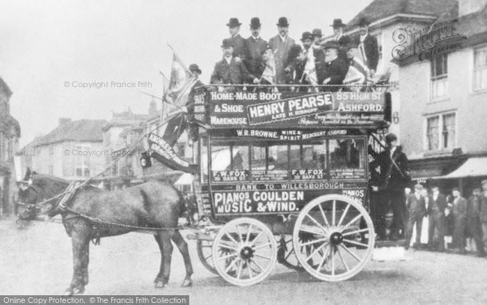 Photo of Ashford, Horse Drawn Bus, High Street c.1900