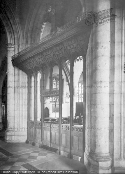 Photo of Ashford, Parish Church Interior, Screen 1921