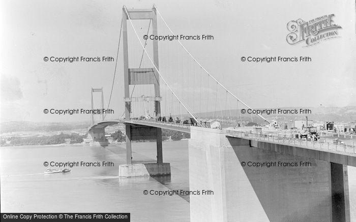 Photo of Aust, Severn Bridge Under Construction c.1966