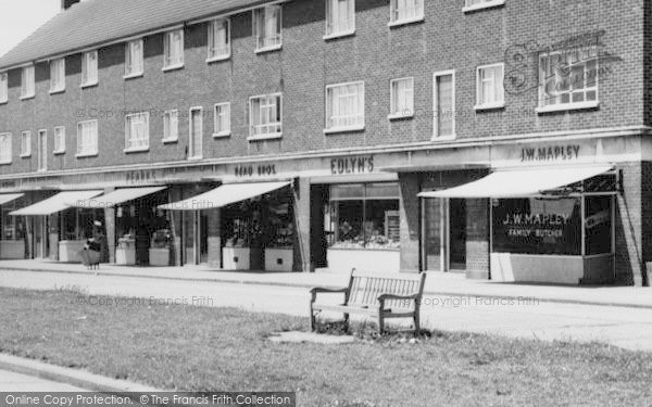 Photo of Aveley, Hall Road Estate, Shopping Parade c.1963