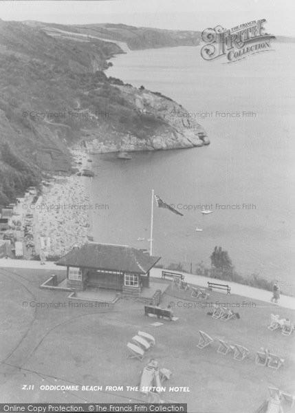 Photo of Babbacombe, Oddicombe Beach From Sefton Hotel c.1960