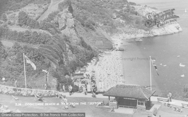 Photo of Babbacombe, Oddicombe Beach From The Sefton Hotel c.1960