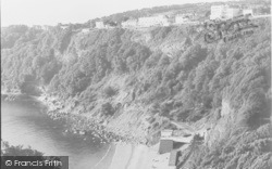 Babbacombe, The Beach, Cliff Railway And Sefton Hotel c.1960