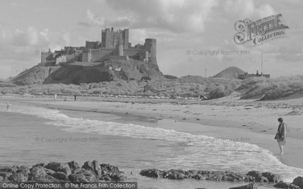 Photo of Bamburgh, Castle From The Beach 1954