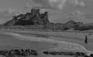 Bamburgh, Castle From The Beach 1954